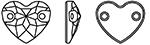 Swarovski 3259 Heart Shaped Sew On Rhinestones