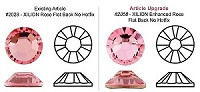 Swarovski 2058 XILION Rose Flat Back Light Siam SS7