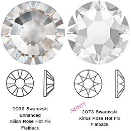 Swarovski 2078/G XIRIUS Rose Hotfix, Partly Frosted Crystal SS20