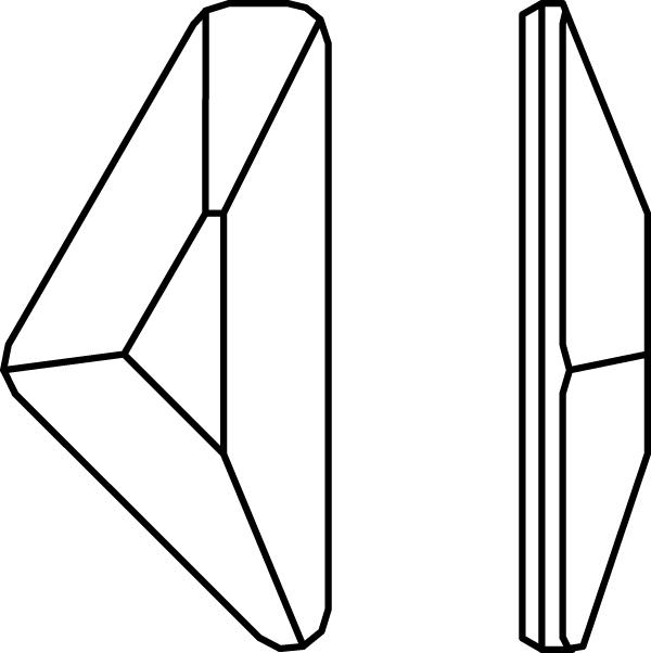 Swarovski 2738 Triangle Alpha Hotfix Crystal 12x6mm