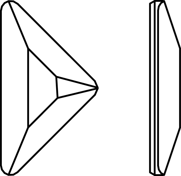 Swarovski 2740 Triangle Gamma Flat Back Crystal 8.3x8.3mm