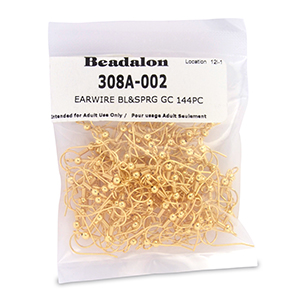 Beadalon Ear Wires, Ball & Spring, Gold Color 144 Piece Package
