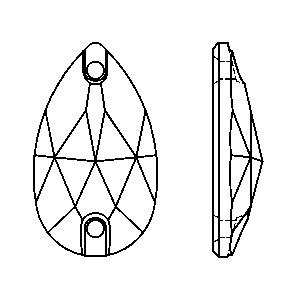 Swarovski 3230 Drop Sew-on Crystal-Montana Blend Unfoiled 18x10.5mm
