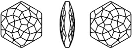 Swarovski 4683 Fantasy Hexagon Fancy Stone Crystal Silver Night 10x11.2mm