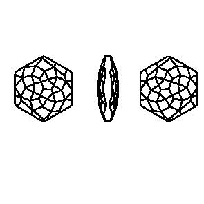 Swarovski 4683 Fantasy Hexagon Fancy Stone Crystal Metallic Light Gold 14 x 15.8 mm