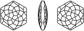 Swarovski 4683 Fantasy Hexagon Fancy Stone Crystal Silver Night 7.8 x 8.7mm