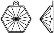Swarovski 4699/J Kaleidoscope Hexagon Fancy Stone Setting Rhodium 14x16mm