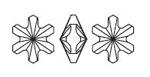 Swarovski 4747 Rivoli Sonwflake Fancy Stone Crystal Silver Night 5mm