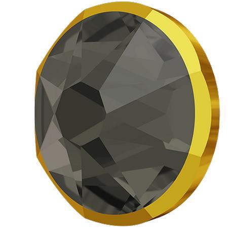 Swarovski 2088/I Rimmed XIRIUS Rose Flat Back Black Diamond with Dorado Rim SS20
