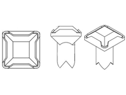 Swarovski Square Crystal Rivets 4mm Peridot/Silver