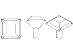 Swarovski Square Crystal Rivets 8mm Peridot/Silver