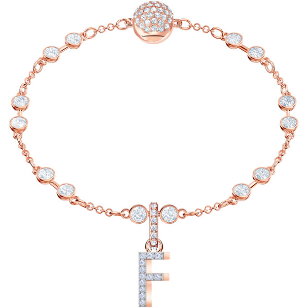 Swarovski Remix Collection Charm F White, Rose-Gold Tone Plated
