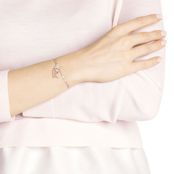 Swarovski Remix Collection Charm R, White, Rose-Gold Tone Plated