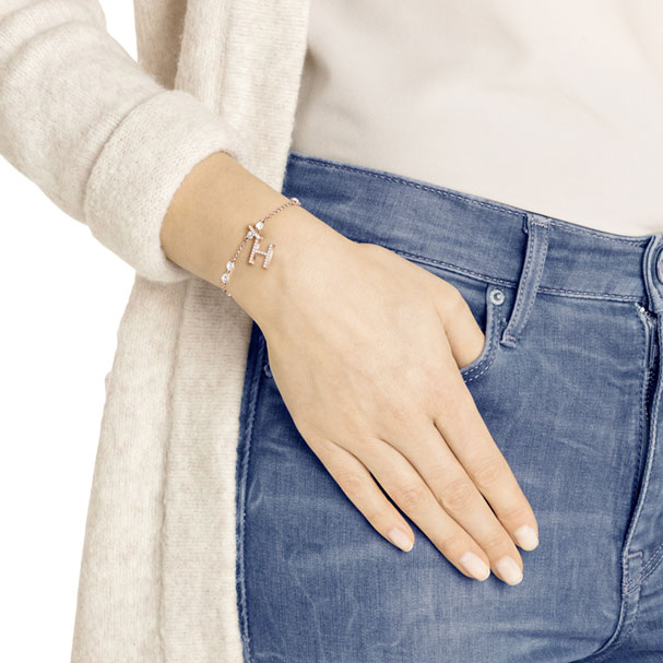 Swarovski Remix Collection Charm H, White, Rose-Gold Tone Plated