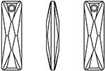 Swarovski 6465 Queen Baguette Pendant Crystal Golden Shadow 13.5x6mm