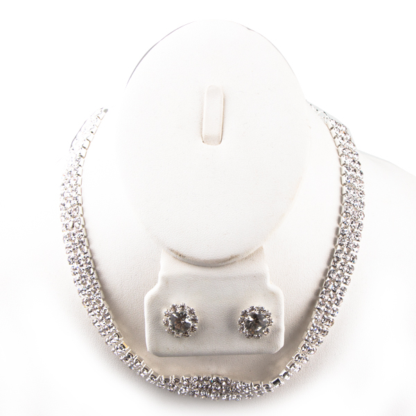 3 Row Adjustable Rhinestone Choker w/Button Crystal Earrings