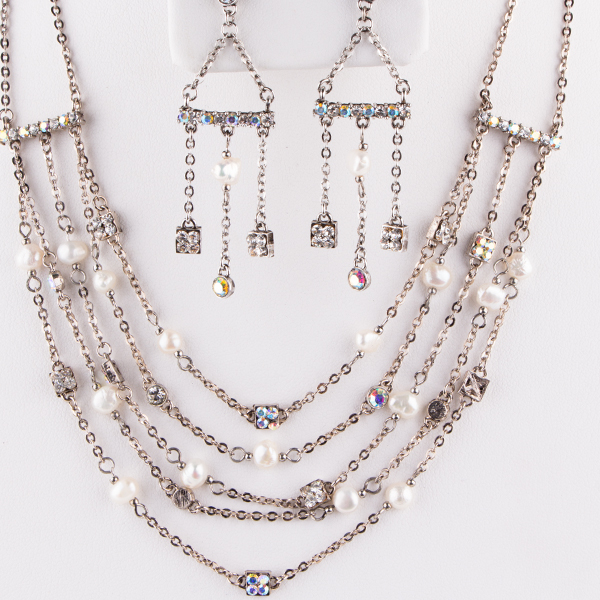 Rhinestone Necklace and Earring Set - Crystal AB
