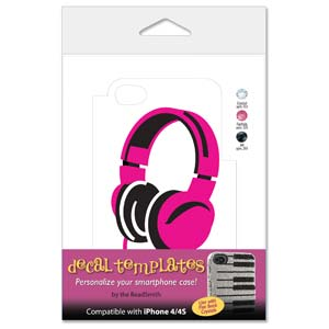 Pink Headphones Template for Phone Case for iPhone 4/4S for use with Flat Backs