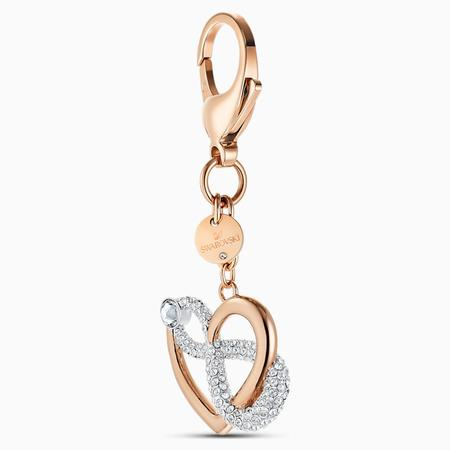 Swarovski Collections Infinite Bag Charm, White, Rose-Gold Plated