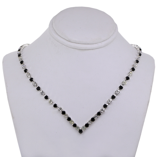 Rhinestone Necklace Crystal and Jet