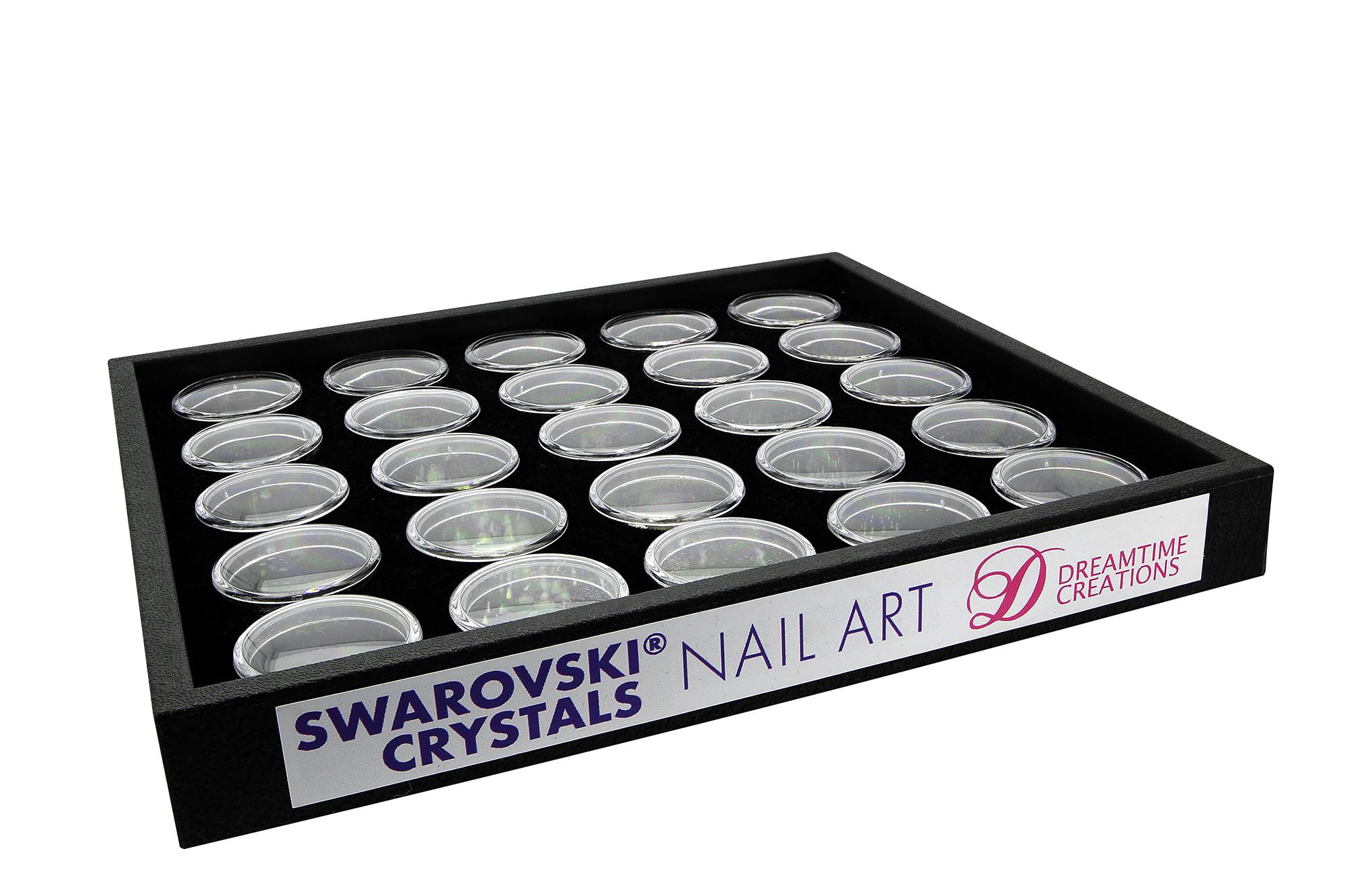 Swarovski Crystals Nail Art Starter Kit - Black Tray 25 Jars