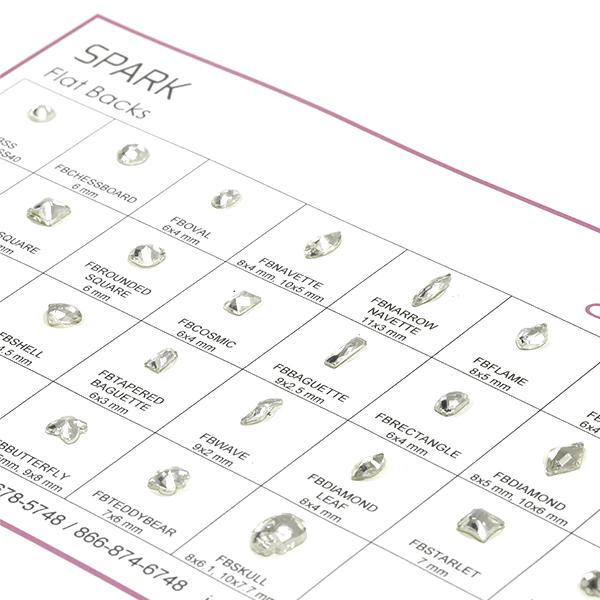 Spark Machine Cut Flatback Stones Shape Chart