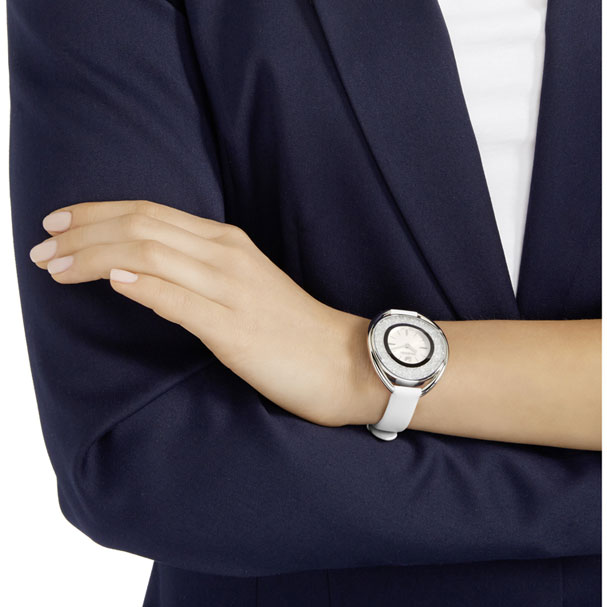 Swarovski Collections Crystalline Oval Watch, Leather Strap, White, Silver Tone