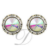 11mm Rondelle with Crystal AB Rivoli Button Earrings