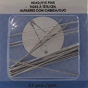 Head Pins, Ball, Medium, 1.97 in (50 mm), Silver Plated, 24 pc