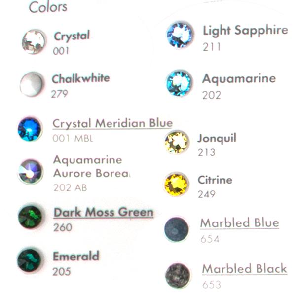Rhinestone Color Chart Dreamtime Creations