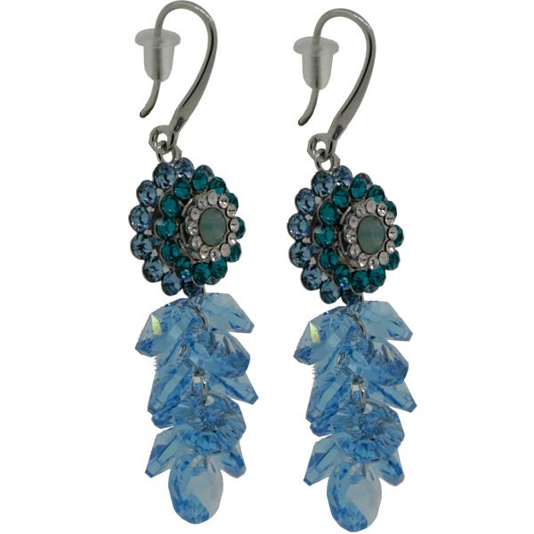 Earrings featuring Aqua/Blue Zircon/Crystal fancy stone from Swarovski