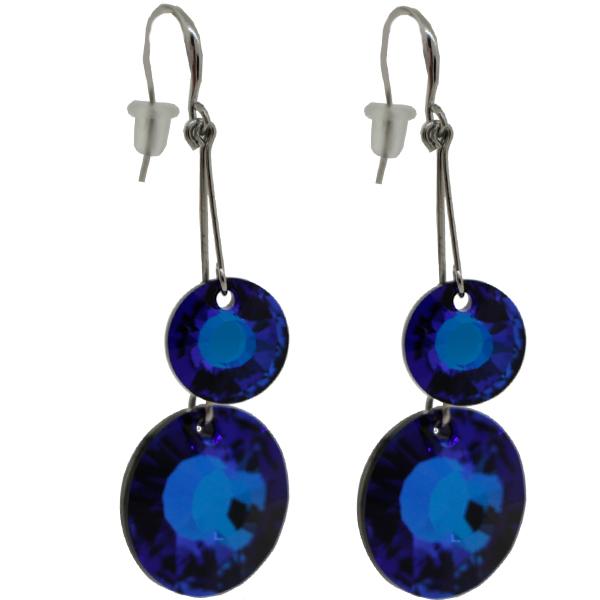 Earrings featuring Bermuda Blue fancy stone from Swarovski