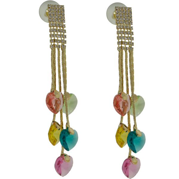 Earrings featuring various heart fancy stones from Swarovski on gold
