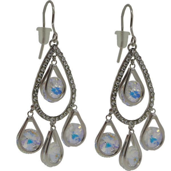Earrings featuring Crystal and Transmission fancy stones from Swarovski on silver