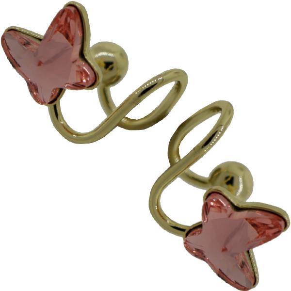Earrings featuring Light Rose butterfly fancy stone from Swarovski