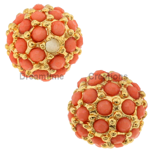 Beadelle® Pave Crystal Bead Coral/Gold 8mm