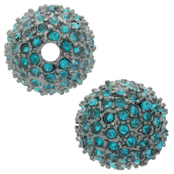 Beadelle® Pave Crystal Bead Blue Zircon/Gunmetal 14mm