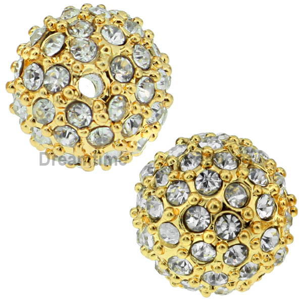 Beadelle® Pave Crystal Bead Crystal/Gold 10mm