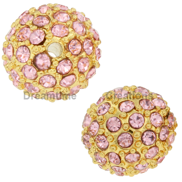 Beadelle® Pave Crystal Bead Light Rose/Gold 10mm