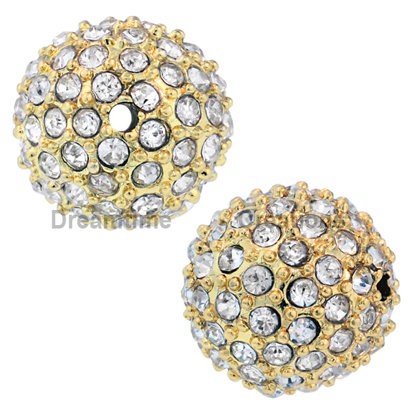 Beadelle® Pave Crystal Bead Crystal/Gold 12mm