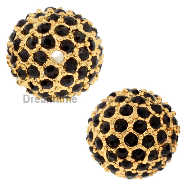 Beadelle® Pave Crystal Bead Jet/Gold 12mm