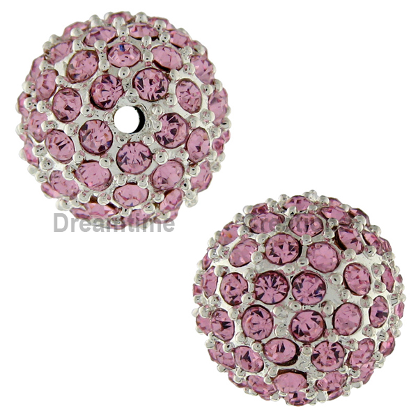 Beadelle® Pave Crystal Bead Light Rose/Silver 12mm