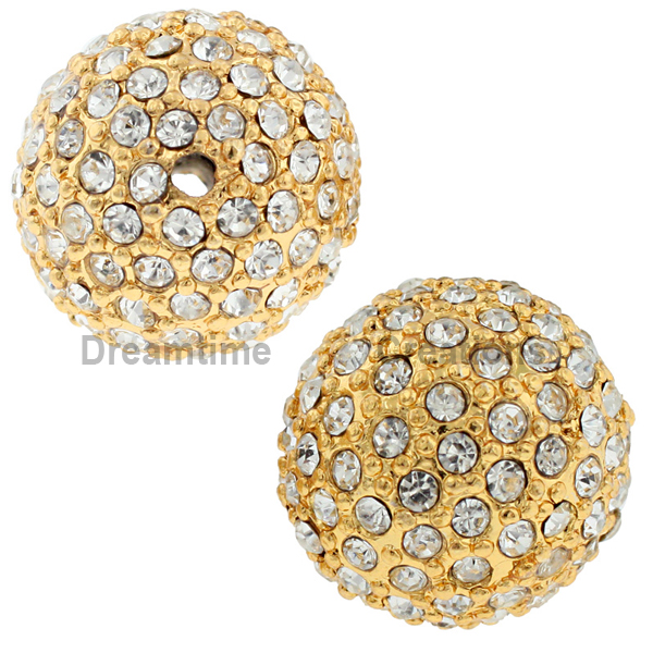 Beadelle® Pave Crystal Bead Crystal/Gold 14mm