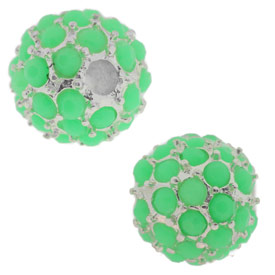 Beadelle® Pave Crystal Bead Neon Green/Silver 10mm