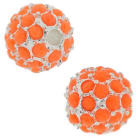 Beadelle® Pave Crystal Bead Neon Orange/Silver 12mm