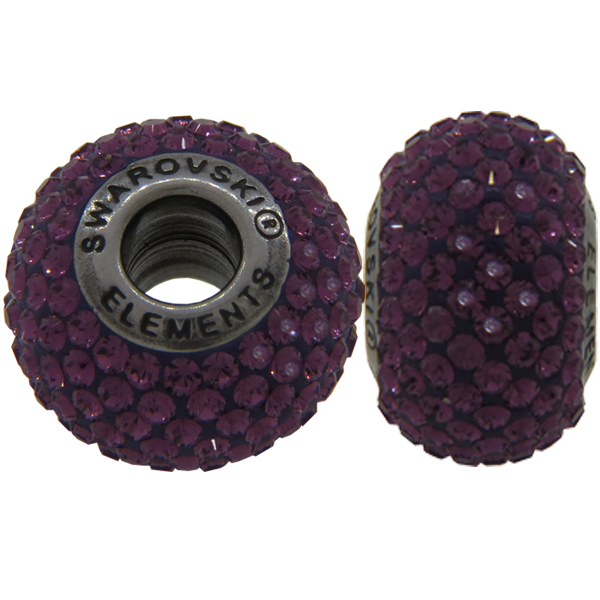 Swarovski 180101 BeCharmed Pave Beads 14mm Amethyst