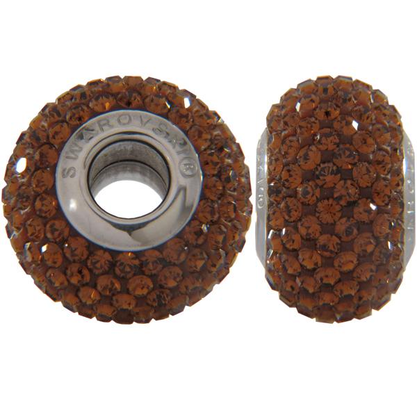 Swarovski 180101 BeCharmed Pave Beads 14mm Smoked Topaz