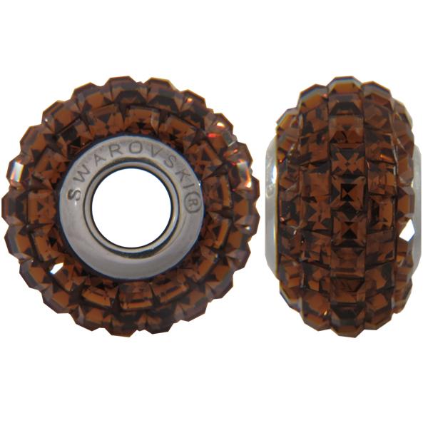Swarovski 180201 BeCharmed Pave Beads 14mm Smoked Topaz