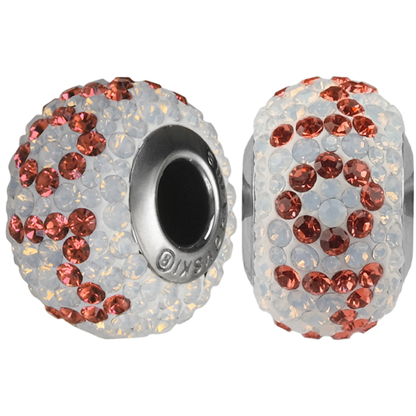 Swarovski 184802 BeCharmed Pave Mom Bead 14mm with White Opal and Padparadscha