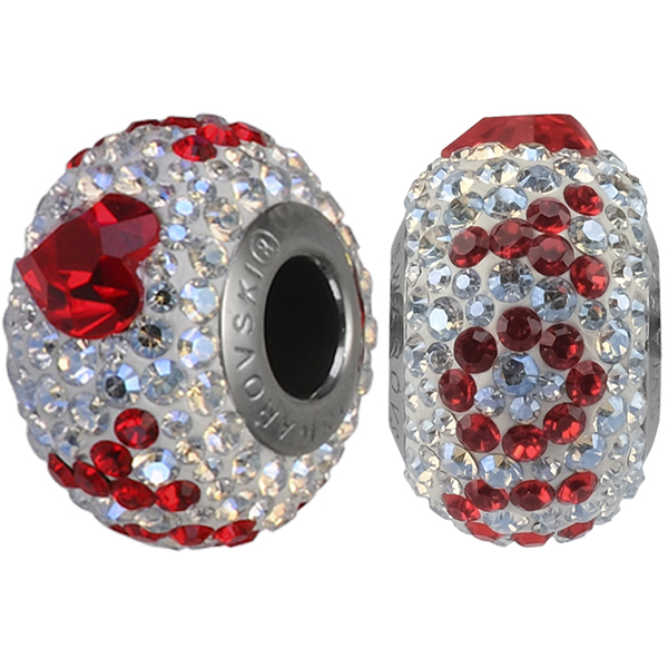 Swarovski 184902 14mm BeCharmed Pave I Love You Bead with Crystal Moonlight and Light Siam Crystals